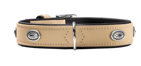 collier simili cuir de luxe doux décoré petit chien hunter softie stone T45 47568 beige
