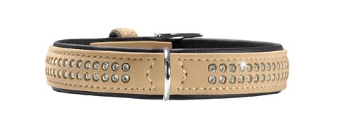 collier cuir de luxe et swarovski petit chien hunter softie deluxe T35 47576 beige
