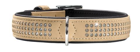 collier simili cuir de luxe et swarovski chien moyen hunter softie triluxe T50 47583 beige