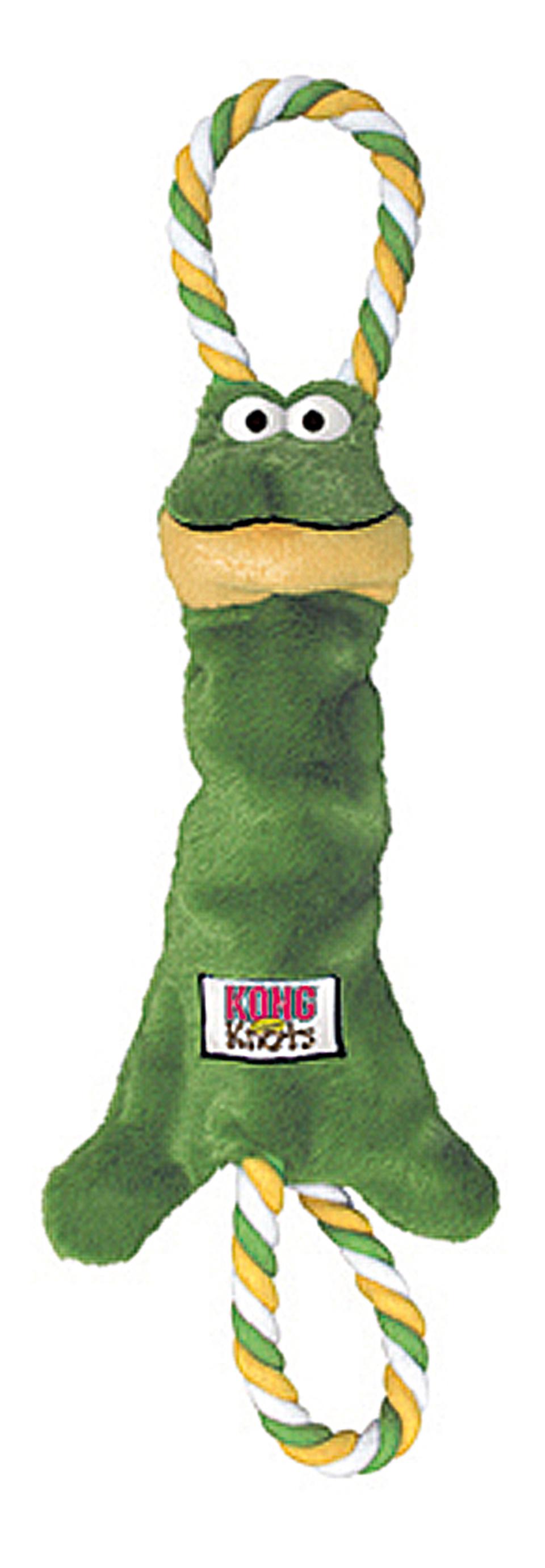 jouet peluche corde kong tugger knots grenouille 20 cm pour chien