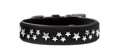 collier cuir de luxe doux et étoiles chien moyen hunter softie stars T45 60243 noir