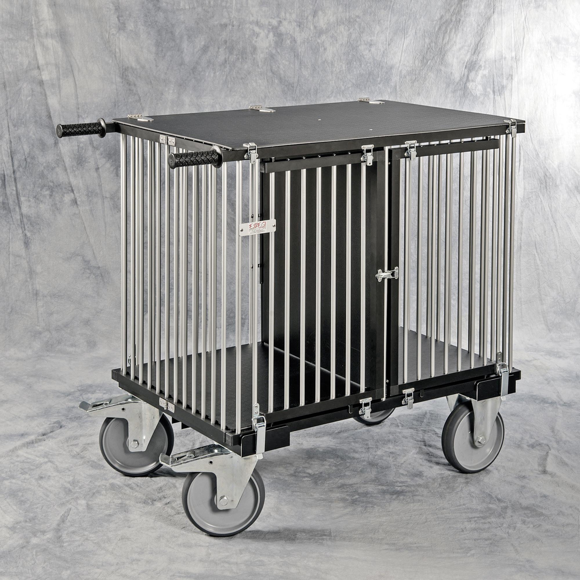 chariot cage alu pliable de luxe 2 cases verticales pour expo