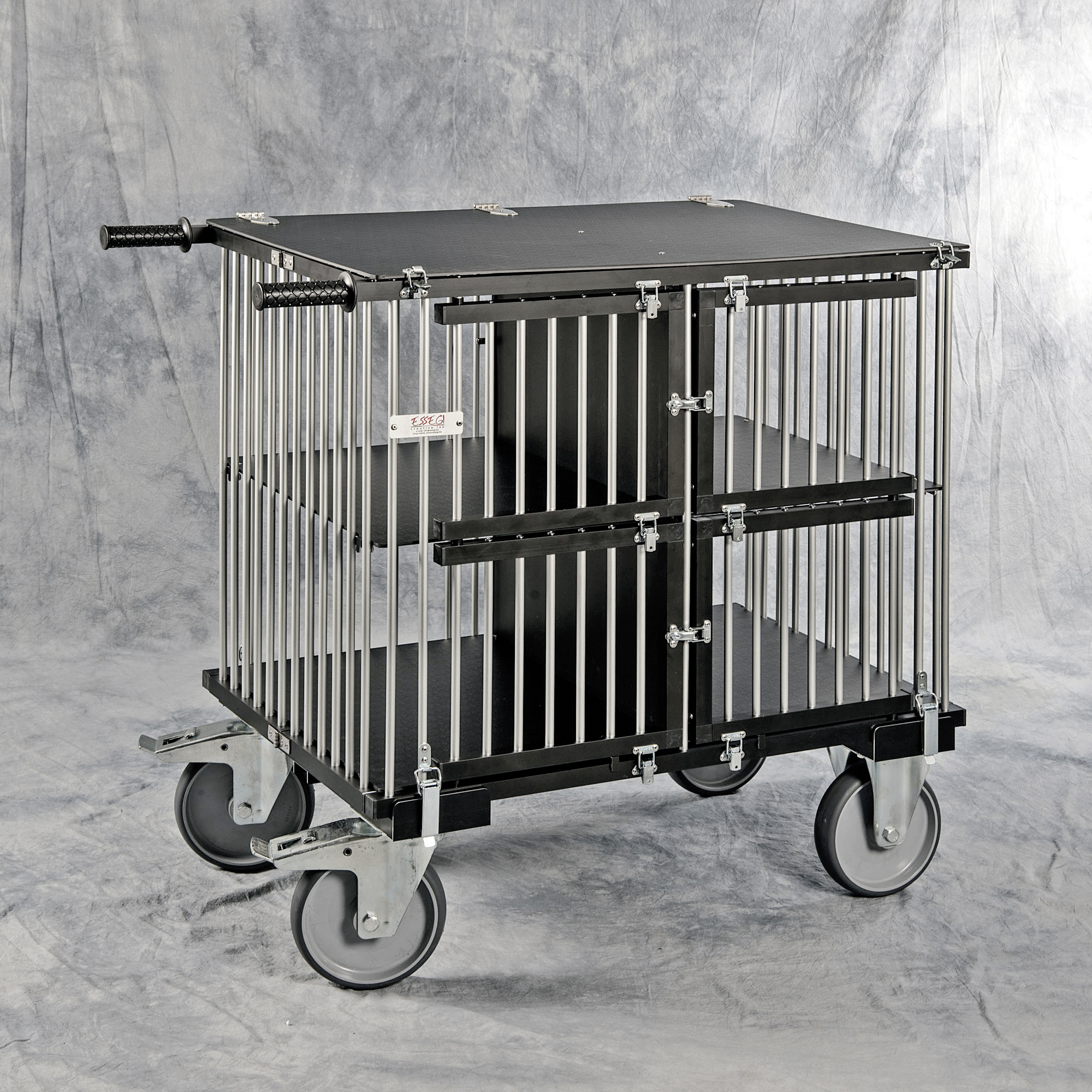 chariot cage alu pliable de luxe 4 compartiments dog show