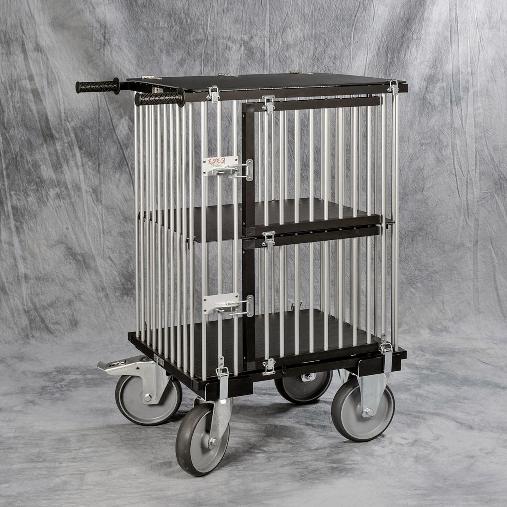 chariot cage alu pliable haute qualité 2 cases horizontales