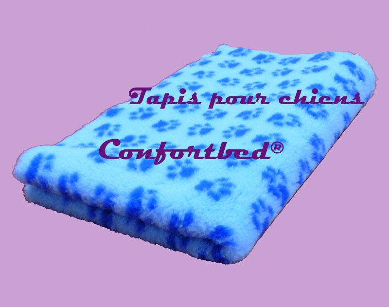 tapis confortbed vetbed dry anti-dérapant bleu clair pattes bleues 100x150cm 26 mm