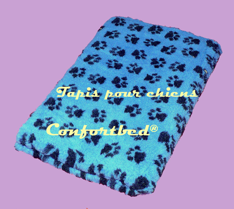 tapis confortbed vetbed dry bleu pattes noires 75x100 cm 26 mm