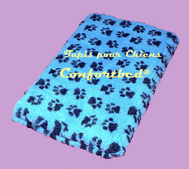tapis confortbed vetbed dry anti-dérapant bleu pattes noires 26 mm à la coupe