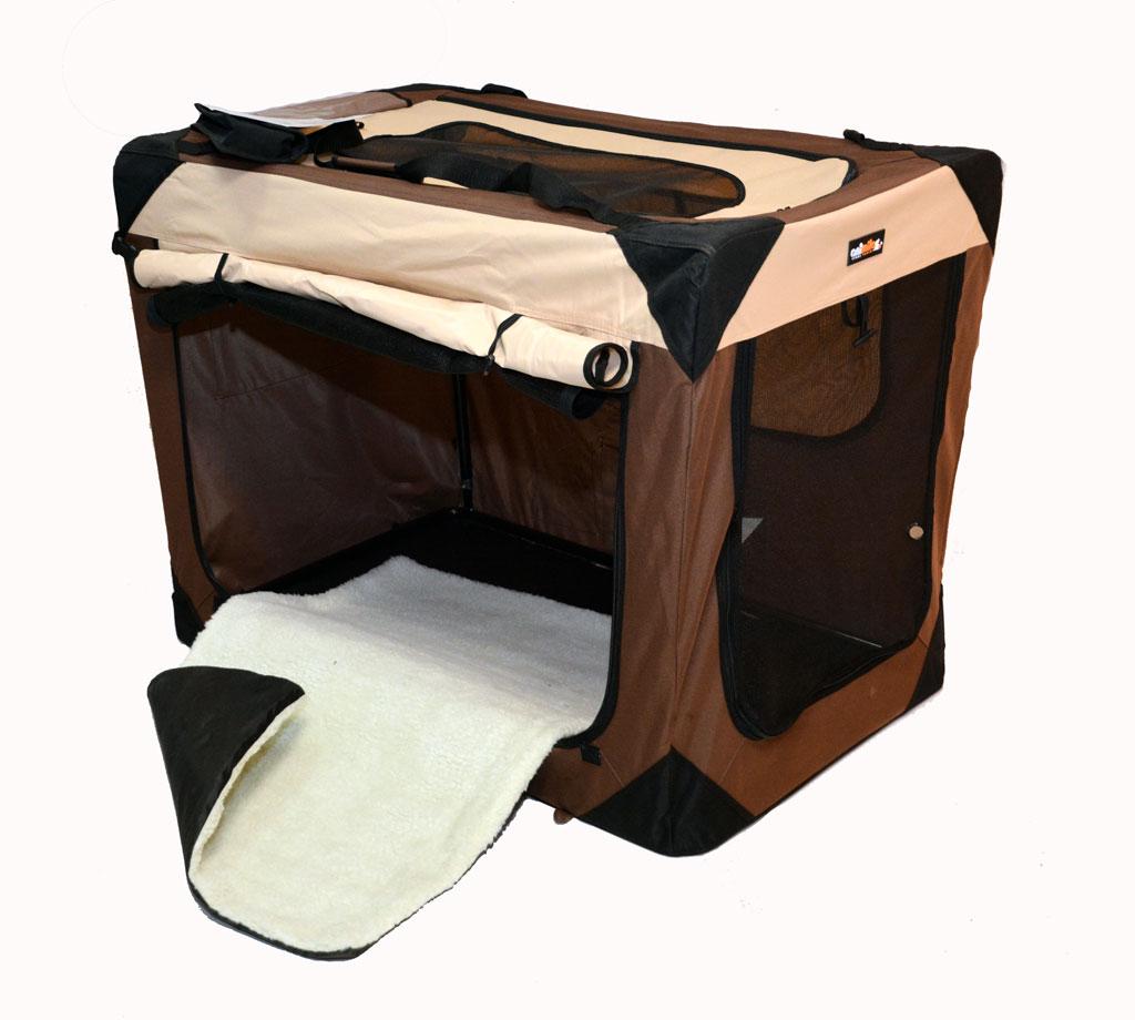 cage de transport pliable tissu Luxe chocolat pour chien