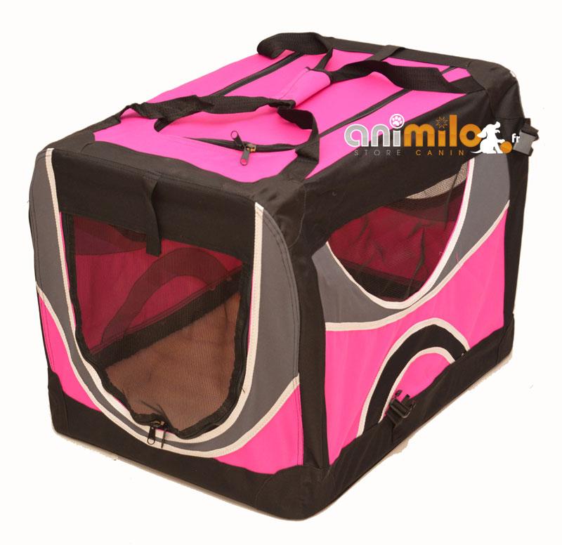 83b4365fc7a3ff cage rose de transport de qualité et tapis pour chien chat Animilo.fr