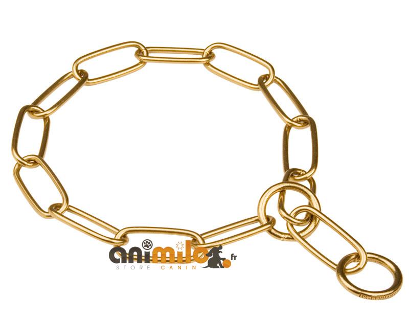 collier étrangleur chainette laiton maille 4 cm pour la présentation du chien