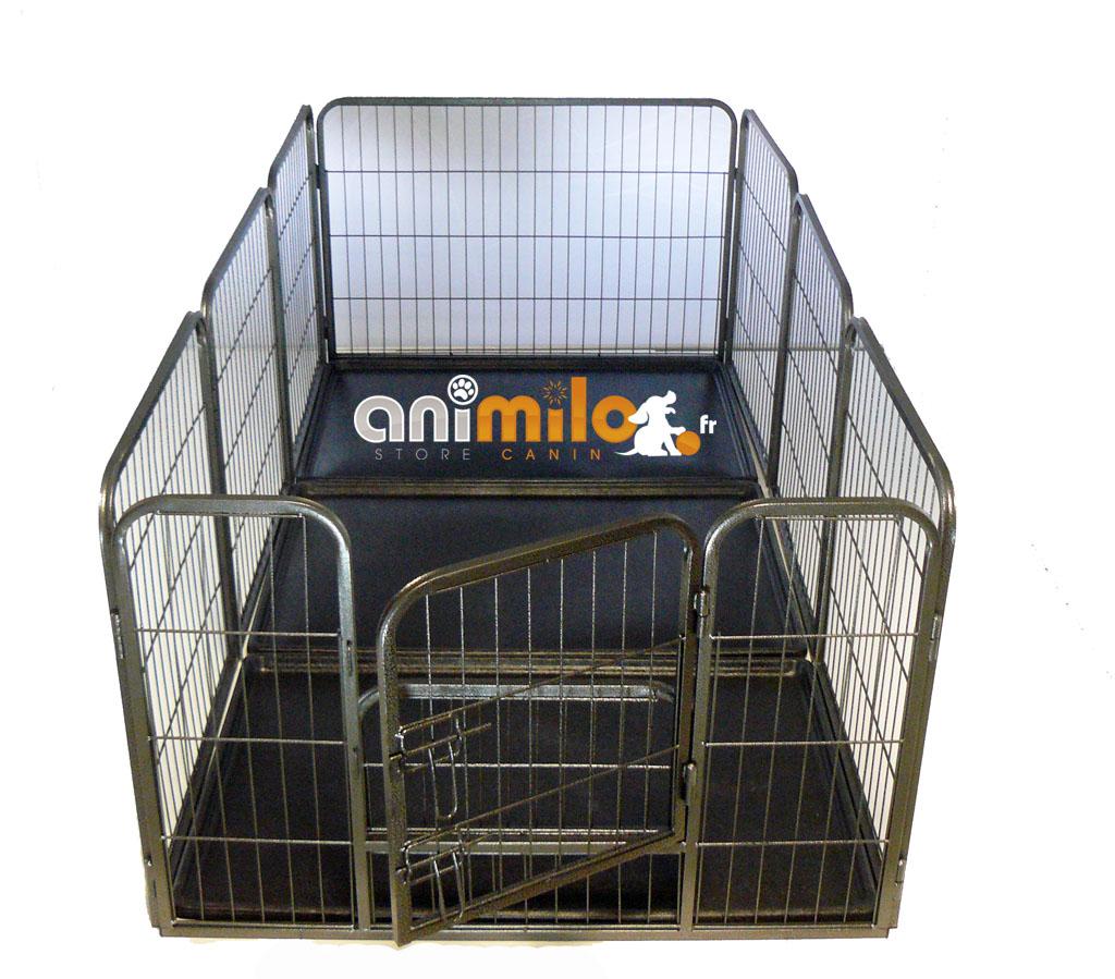 parc métal modulable ECONO 8 panneaux 3 bacs pour chiot ou chien