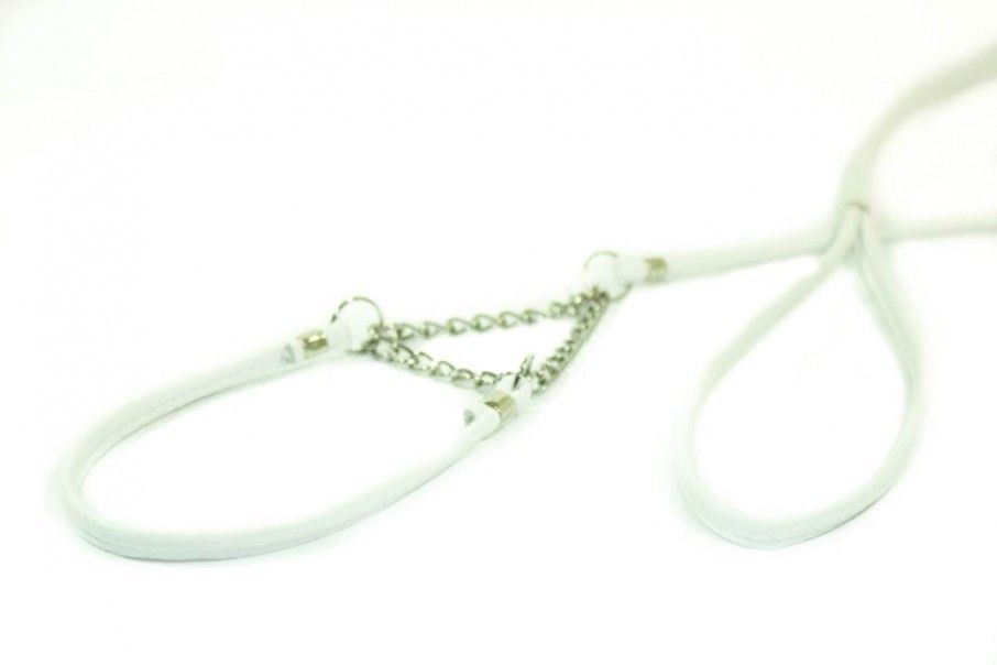 laisse d'expo cuir fin , Animilo-blanc 40 cm