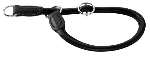 coller cuir rond semi-étrangleur noir, avec stop Hunter Round &Soft