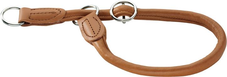 collier en cuir d'élan cognac, avec anneau stop Hunter Round & Soft Elk