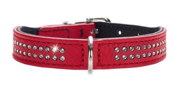 collier cuir rouge pour petit chien, Hunter Diamond Petit