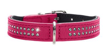 collier cuir rose pour petit chien, Hunter Diamond Petit
