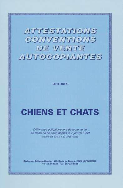 carnet attestations vente chiots chats BCG