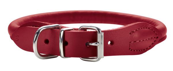 collier cuir peau d'élan rouge Hunter Round & soft elk petit, pour petit chien