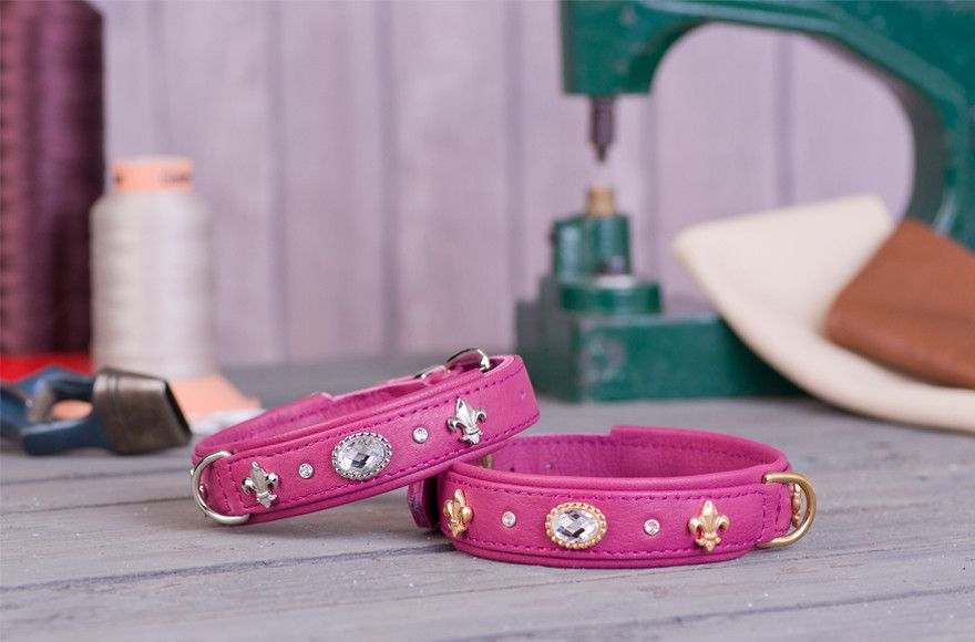 collier cuir artisanal petit chien marilyn rose T27 doré