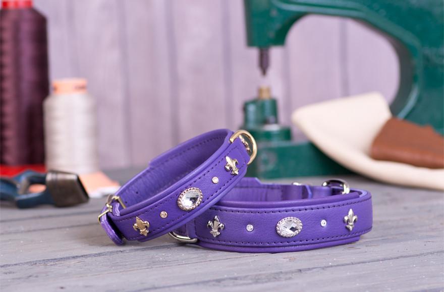 Collier cuir de luxe violet Animilo