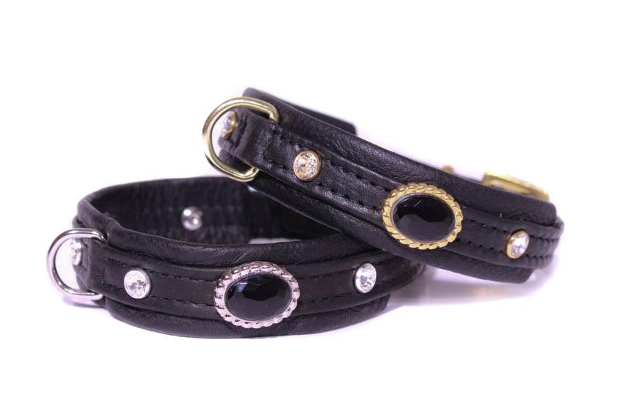 collier cuir de luxe noir Jaguar