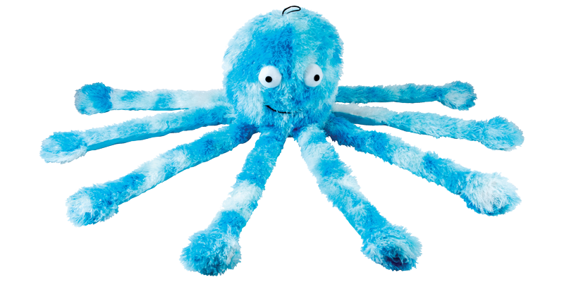 jouet peluche pieuvre bleue pour chien