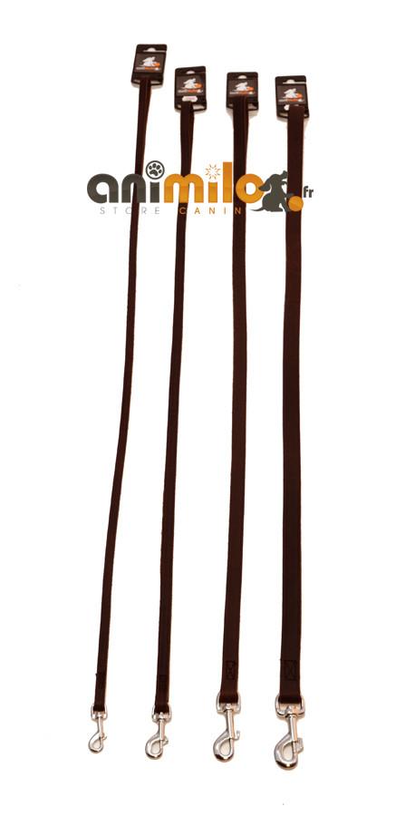 Laisse plate marron en cuir gras Animilo 3