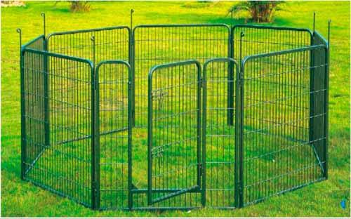 Parc à chien ou chiot en métal vert, 8 panneaux