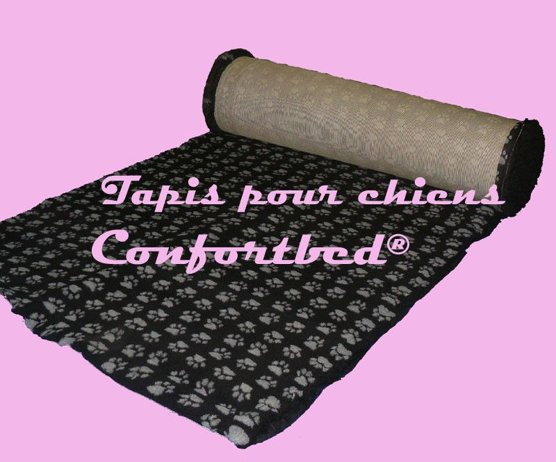 Tapis Confortbed-dry anti-dérapant noir à pattes grises, épaisseur 26 mm,longueur selon commande