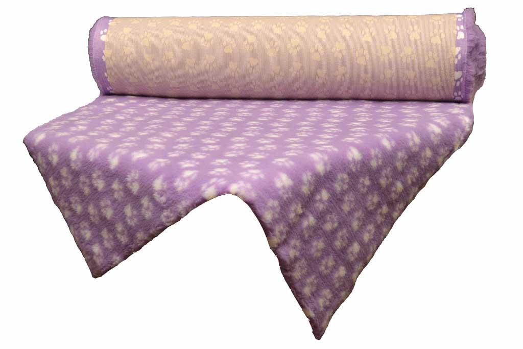 Tapis Confortbed-dry anti-dérapant mauve à pattes blanches, épaisseur 26 mm,longueur selon commande