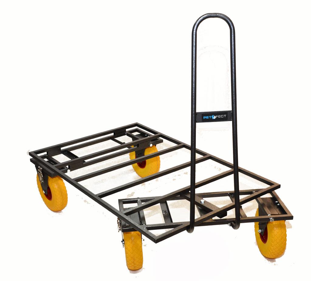 trolley chariot de transport de cage de chien tout terrain