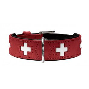 collier en cuir Hunter Swiss, rouge