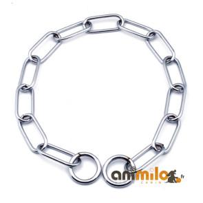Collier étrangleur chainette chromé maille ovale 4 cm, pour chien
