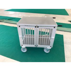 Chariot cage alu 2 compartiments pour expos