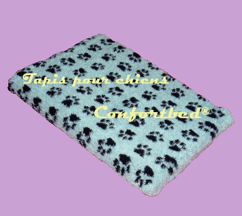 tapis confortbed vetbed dry anti-dérapant gris pattes noires 100x150 cm 26 mm