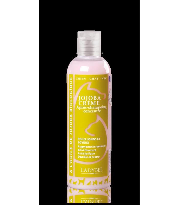 après shampoing pro poils soyeux jojoba crème ladybel pour chien