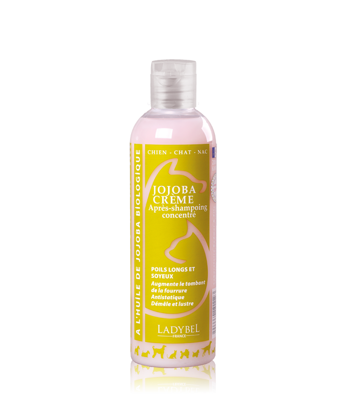 après shampoing pro démêlant jojoba crème ladybel 1 litre poils longs soyeux