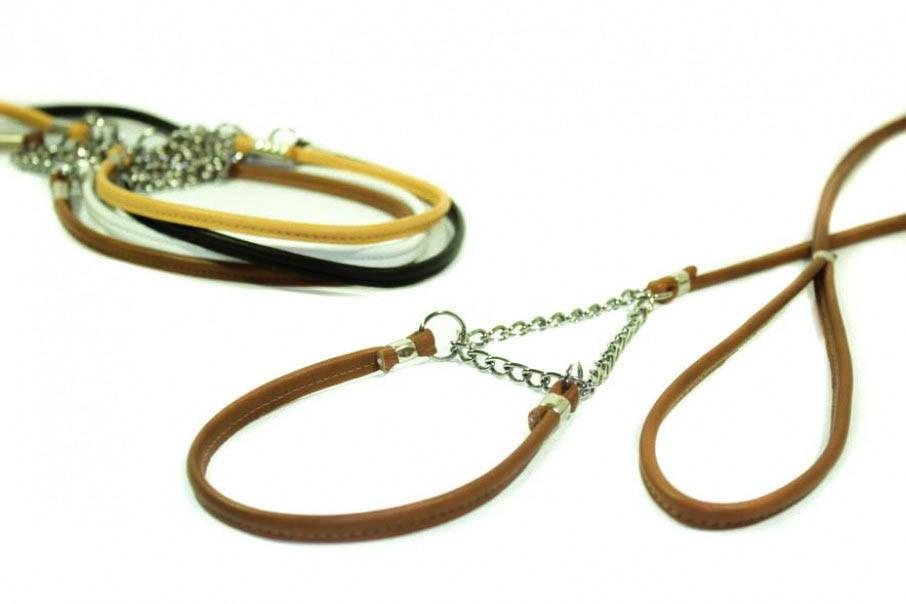 laisse de présentation de luxe 3 mm cuir et chainette
