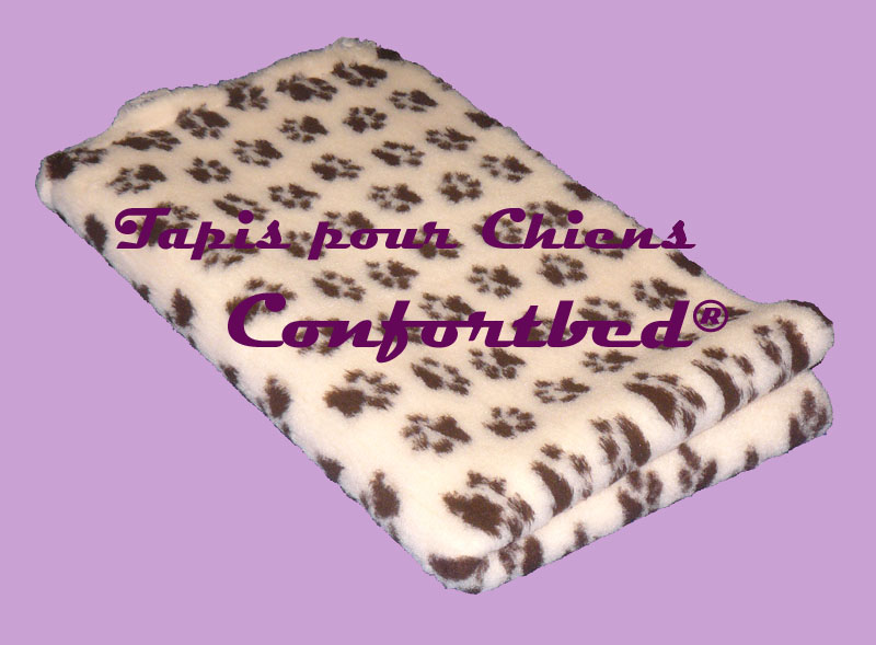 tapis confortbed vetbed dry anti-dérapant beige pattes marron 75x100 cm 26 mm
