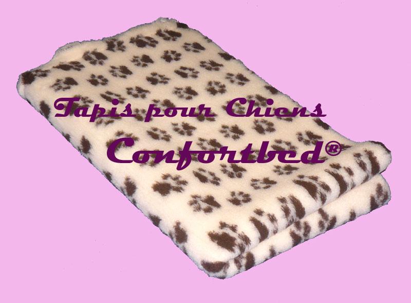 tapis confortbed vetbed dry anti-dérapant beige pattes marron 26 mm à la coupe