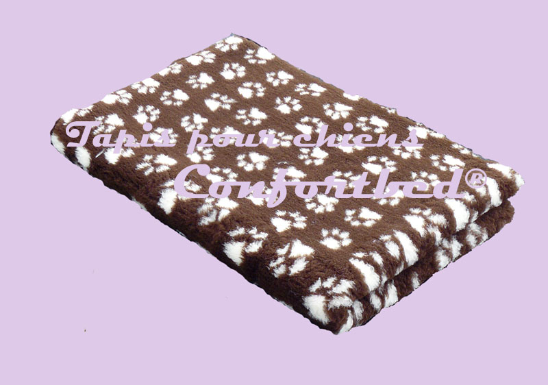 tapis confortbed vetbed dry anti-dérapant chocolat pattes beige 26 mm