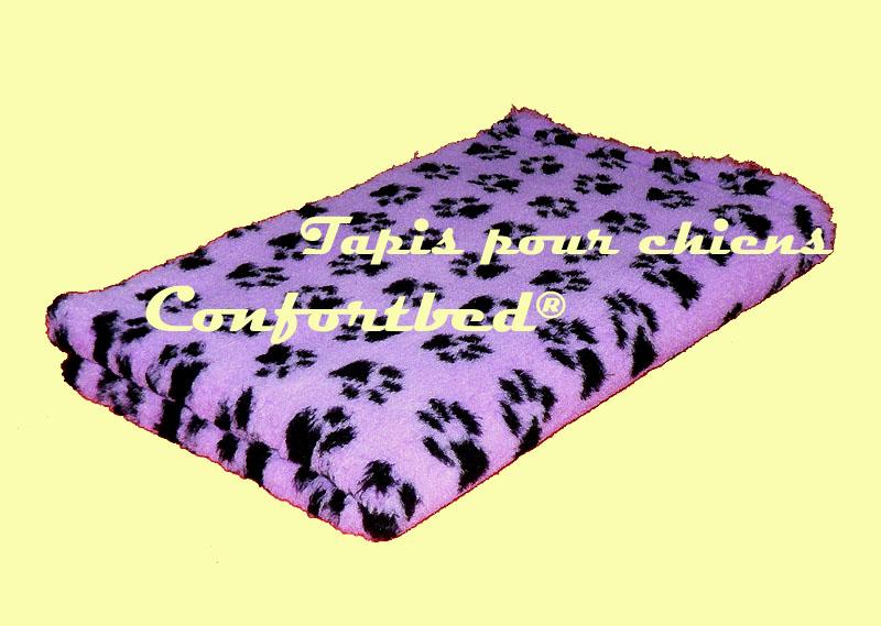 tapis confortbed vetbed dry anti-dérapant mauve pattes noires 75x100 cm 26 mm