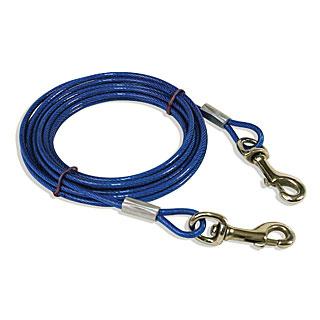 câble d'attache plastifié bleu 5 m pour chien 20 kg