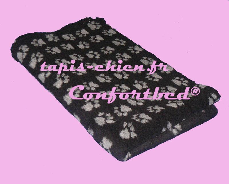 tapis confortbed vetbed dry anti-dérapant noir pattes grises 100x150 cm 26 mm