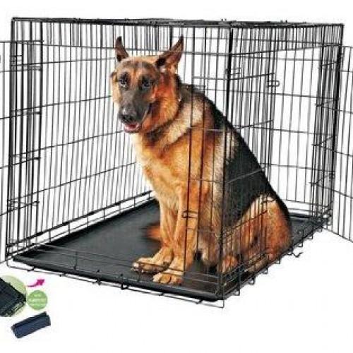 cage m tal noir bac plastique 121x74x80 5 cm pour chien. Black Bedroom Furniture Sets. Home Design Ideas