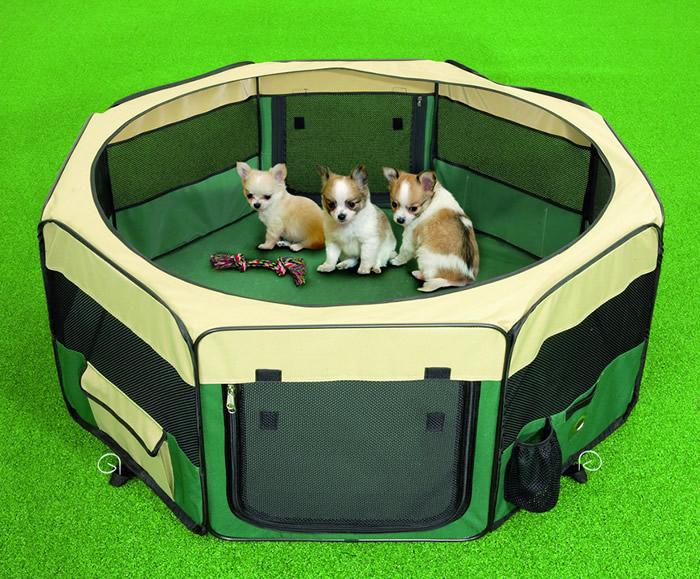 parc nylon pliable XXL h 76 cm x145 cm vert pour chien