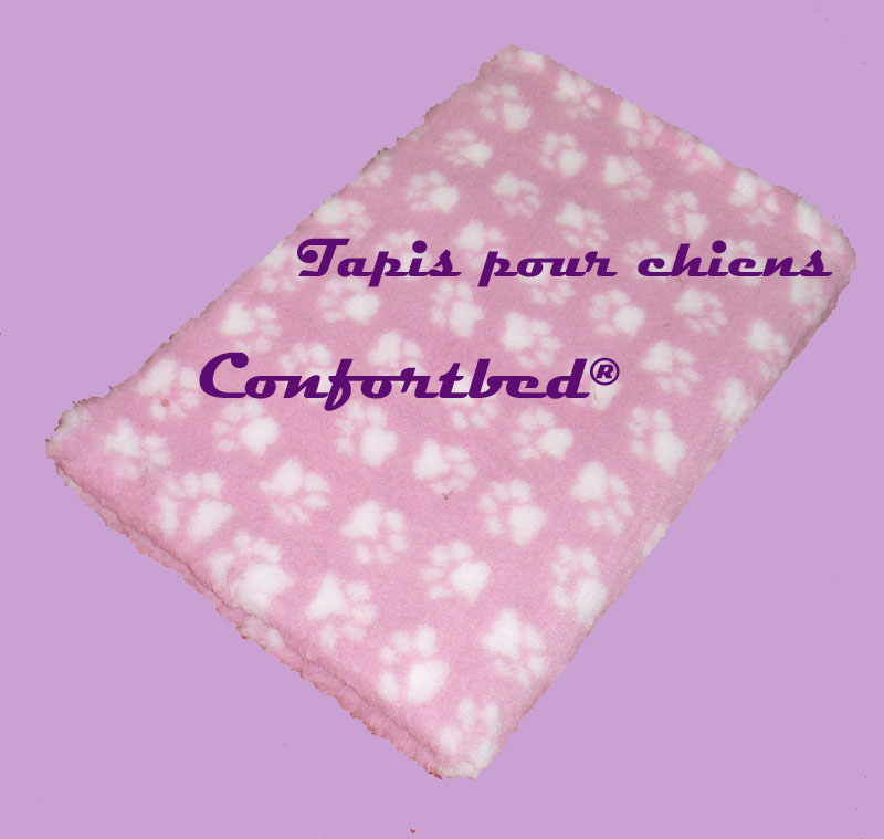 tapis Confortbed Vetbed Dry antidérapant 26 mm 100x150 cm rose pattes blanche