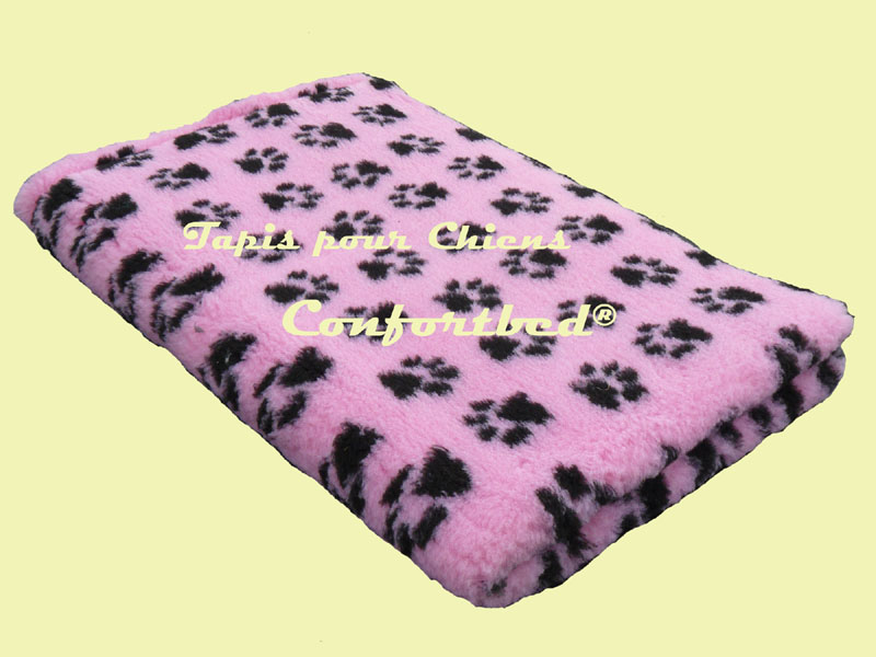 tapis Confortbed Vetbed Dry antidérapant 26 mm 75x100 cm rose pattes noire