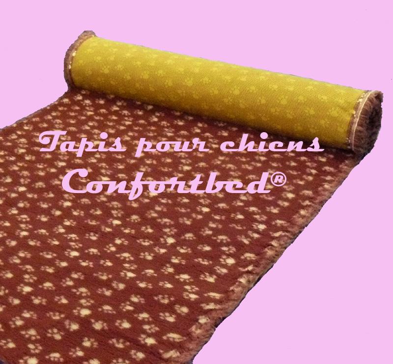 tapis confortbed vetbed dry anti-dérapant bordeaux pattes blanches 26 mm à la coupe