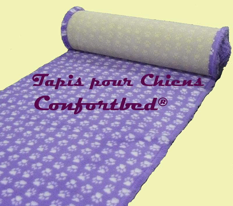 tapis confortbed vetbed dry anti-dérapant mauve pattes blanches 26 mm à la coupe